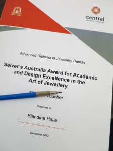 2013 award for academic & design excellence in art of jewellery