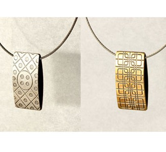 Streetscape serie. Double pendant. Sterling silver, brass, stainless steel