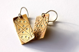 Streetscape serie. Earrings Sapa 3. Sterling silver, gilding metal.