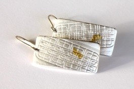 Streetscape serie. Earrings Hoi An 4. Sterling silver, 24ct gold.