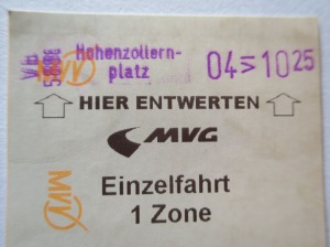 Munich U-Bahn ticket