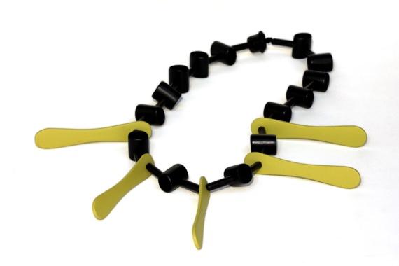 In memoriam, Rosie 1. Necklace. Repurposed plastic, wood, paint, thread.