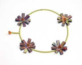 Blossoming (Day 29). Neckpiece. Upcycled plastic, paper, paint, thread