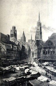 Rouen Cathedral with wood & gold-plated lead spire before 1822 fire